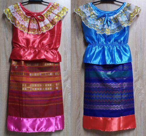 blue Thai silk costume//Kid dress party fancy//Princess dress// size s// 1 pc// red