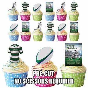 PRECUT Leicester Tigers Rugby Fan Birthday Edible Cupcake Toppers