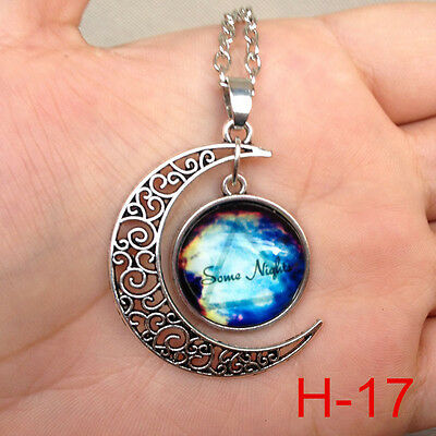 New arrival  Colorful Galaxy Glass Hollow Moon Shape Pendant Tone Necklace H-17'
