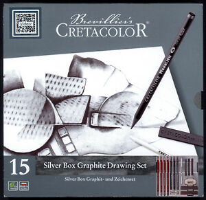 Cretacolor-15-Piece-Artist-Quality-Drawing-Set-034-Silver-034-various-Pencils-Charcoal