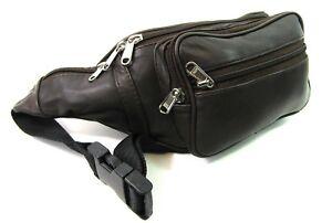 Sacoche en cuir ceinture Argent Poche de taille 7 zips Sac banane Voyage Festival Vacances