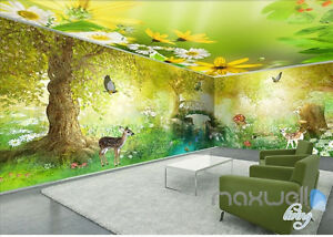 Fairy tale forest deer entire room 3D wallpaper wall mural decals