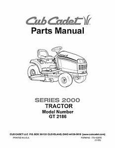 cub cadet parts manual model no gt 2186 ebay rh ebay com Cub Cadet Lawn Tractors Bagger Cub Cadet Lawn Tractors Bagger