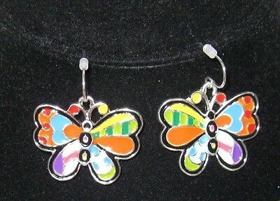 Butterfly Earrings Art Deco Rainbow Colored Patchwork Design