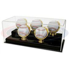 BASEBALL OR CRICKET BALL GOLD GLOVE GRANDSTAND DISPLAY CASE FOR 5 BALLS