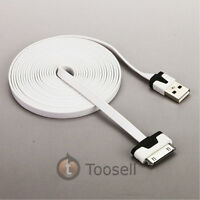 3M/10FT Noodle Flat USB Data Sync Charger Cable for iPhone 4 4S iPod iPad White