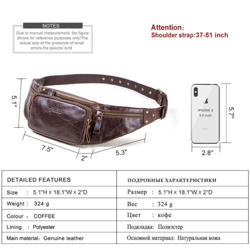 Men Genuine Leather Fanny Pack Waist Bag Chest Shoulder Bags Crossbody Backpack
