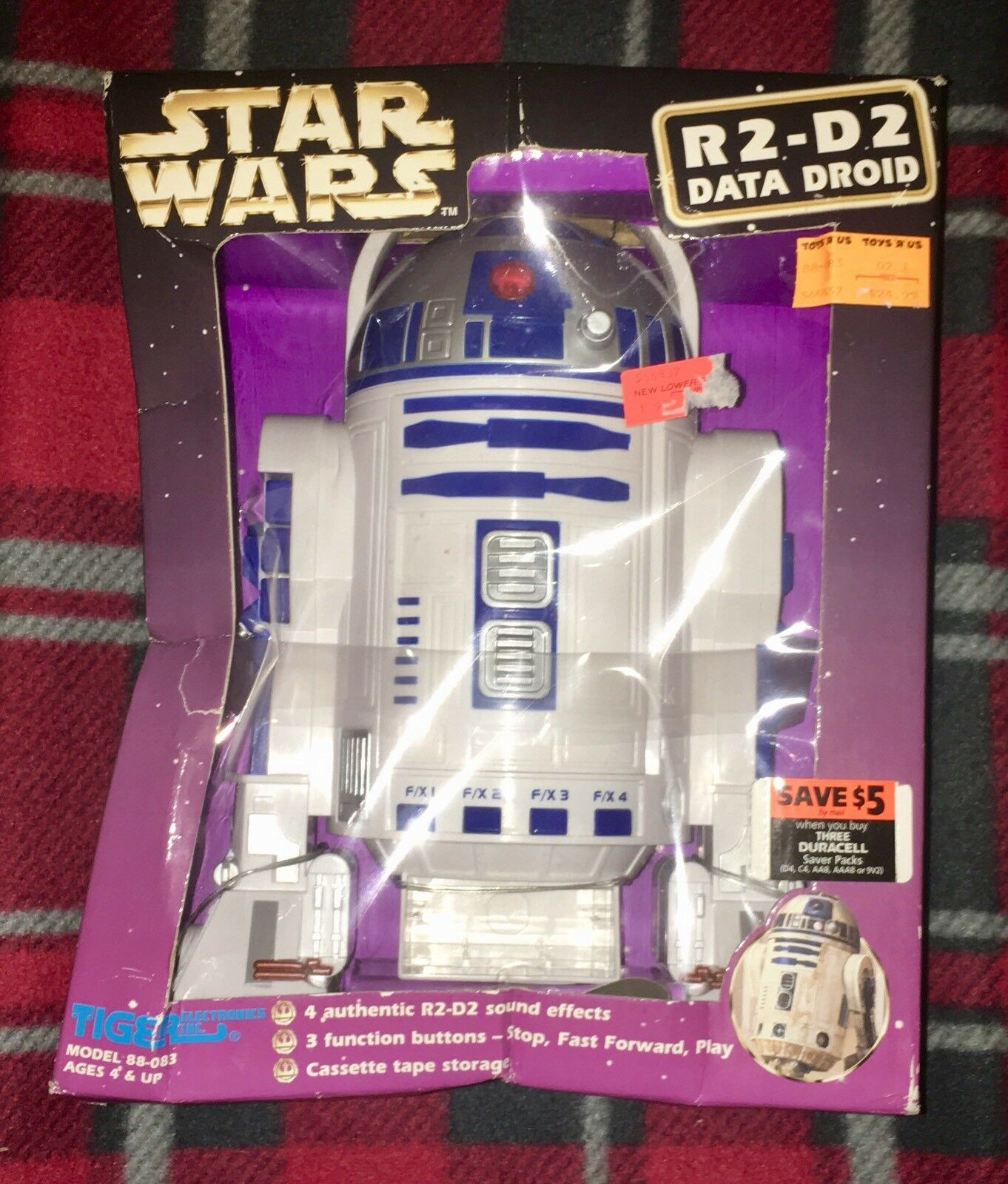STAR WARS 1997 R2D2 Sound Effect Data Droid Cassette Tape Player Figure OOP HTF