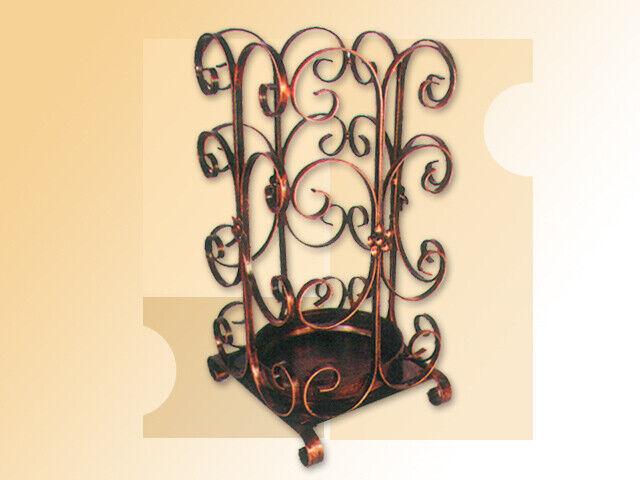 Portaombrelli porta ombrello in ferro battuto quadrato con foglie da ingresso