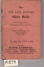 K&E Log-Log Duplex Slide Rule Manual, sliderule, VG condition, (P374)