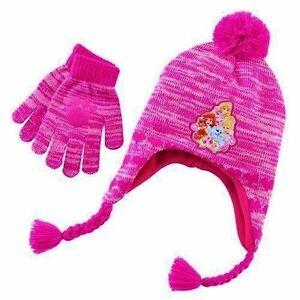 031ceb971be DISNEY PRINCESS PALACE PETS Pink Knit Winter Hat Gloves Set Pom-Pom ...