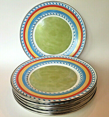 10 Formation Enamelware Tuscan Summer Dinner Plates Stripe