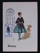 SPAIN MK 1967 COSTUMES BADAJOZ TRACHTEN MAXIMUMKARTE MAXIMUM CARD MC CM c6018