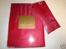 "New Luxe Habitat Shimmer Luxe Metallic 70"" Round Tablecloth + 4 Napkins Red"