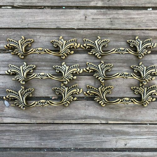 """3/"""" Center French Provincial drawer pulls Shabby Chic Handle Brass NEW Lot of 6"""