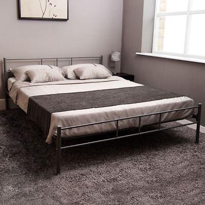 Dorset King Size Bed Metal Steel Frame 5FT Bedroom Furniture Modern Silver New