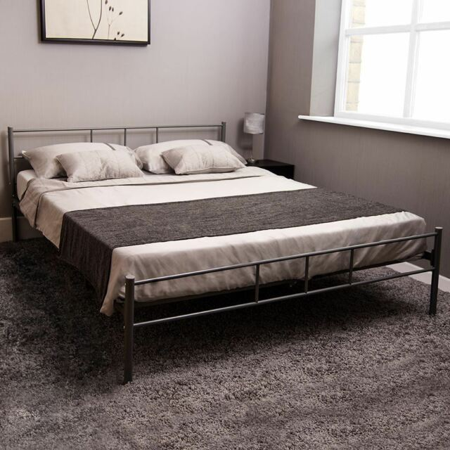 Modern Metal Bed Frame King Size 5ft Steel Divan Bedroom Furniture