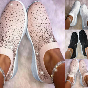 Fashion-Women-039-s-Ladies-Ankle-Flat-Loafers-Crystal-Bling-Sneakers-Casual-Shoes