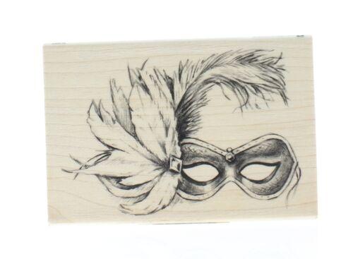 Hampton Art Halloween Mardigras Feathered Mask Wooden Rubber Stamp