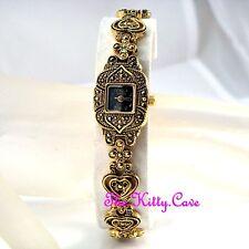 Edwardian Deco Vintage Arabesque Goth Heart Gold Pl Marcasite Ladies Dress Watch