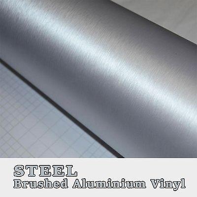 20x152cm Black Steel Brushed Aluminium Vinyl Vehicle Wrap Tint Exterior Interior