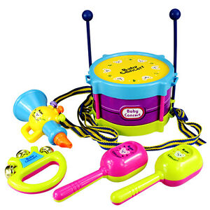 5-Stk-Baby-Musikinstrumente-Roll-Trommel-Band-Set-Kinder-Spielzeug-Neu-U9D4