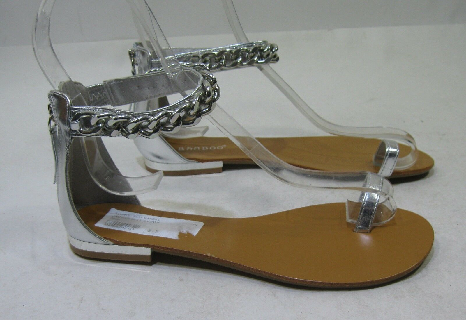 Summer Silver Womens Shoes Sandals Toe/Ankle Strap Chain Sexy Sandals Shoes Size 7.5 b6167d