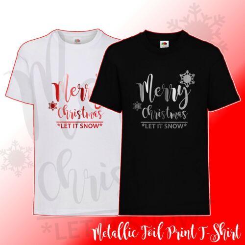 Womens Ladies Kids Frozen Merry Christmas Xmas Let It Snow Festive T-Shirt Top