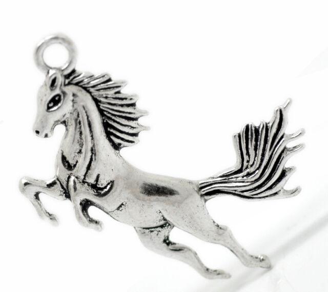 10 Antik Silber Pferd Charm Anhänger 5.1x4.3cm B20903
