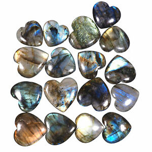 17-Pcs-Top-Quality-Natural-Labradorite-Heart-Flashy-Untreated-Gems-25mm-32mm