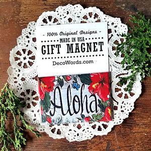 DecoWords Fridge Magnet Hawaiian Magnet ALOHA Hawaii Hibiscus Tiki Room Office