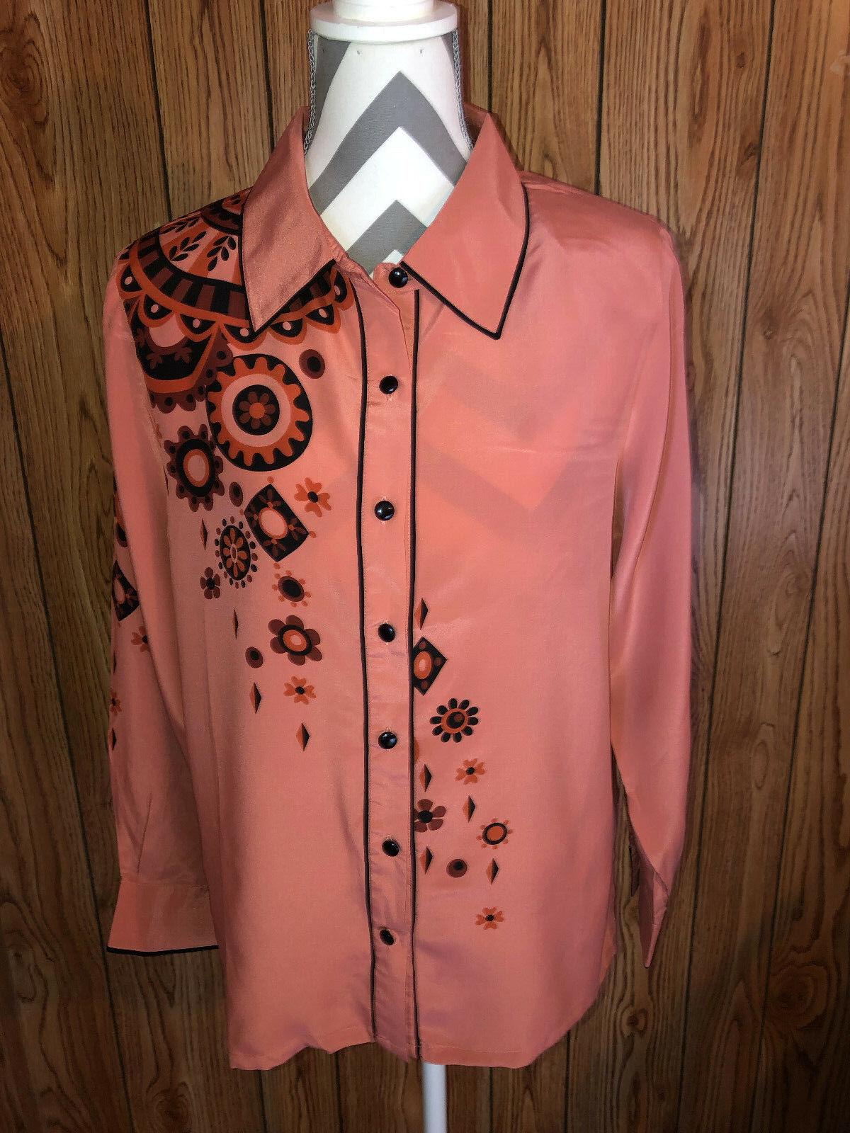 NWT Bob Mackie Wearable Art Silk Print Button Front Shirt Größe M Shoulder Pads