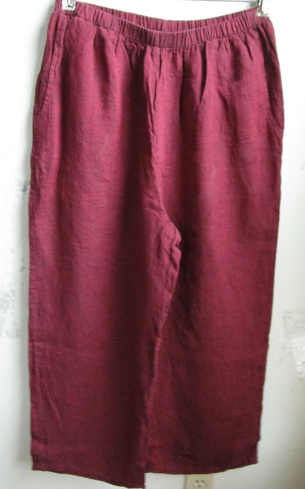FLAX Designs   LINEN PANTS   3G   NWOT   Floods Cropped Pants  OXBLOOD