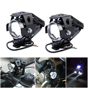 2X-Moto-Feux-Avant-125W-U5-LED-Phare-Lumiere-Lampe-Commutateur-antibrouillard