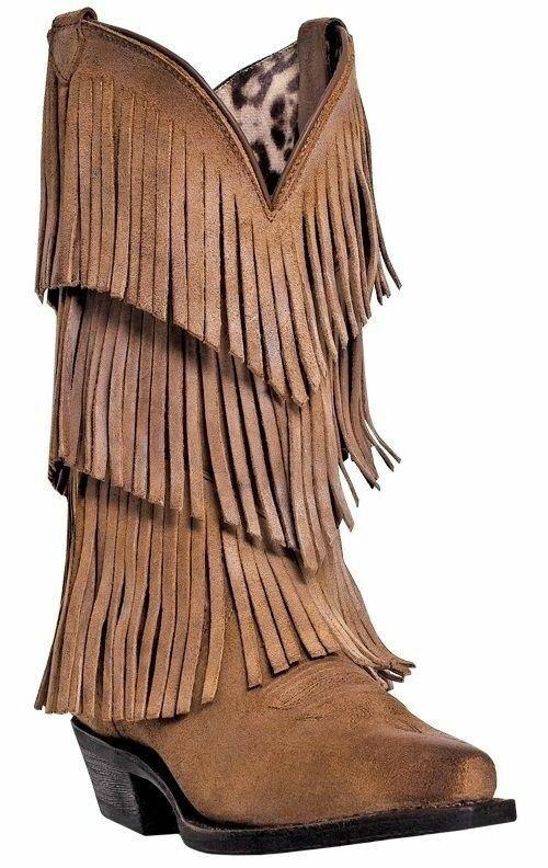 Dingo Women's Tres Fringe Suede Cowboy Western Boots Burnished Tan DI7442