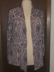 Chico-039-s-Lightweight-Open-Cardigan-Sweater-Wrap-Sz-3-Purple-Plum-Gray-White