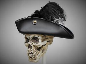 efb02c299b4 Image is loading tricorn-black-leather-hat-pirate-feather-costume-cosplay-
