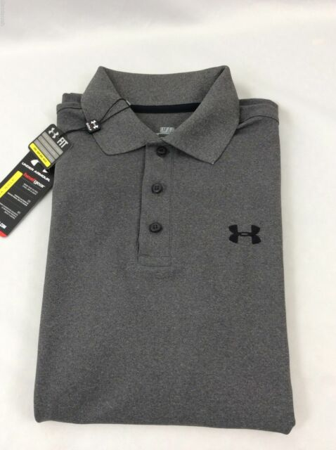f00ae34b6 Under Armour Polo Heat Gear Loose Fit Golf Shirt Gray Striped Men's 3xl