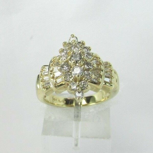 Estate 14K YG 1.0 CTW Diamond Cluster Ladder Ring 8.2 Grams Size 6.75