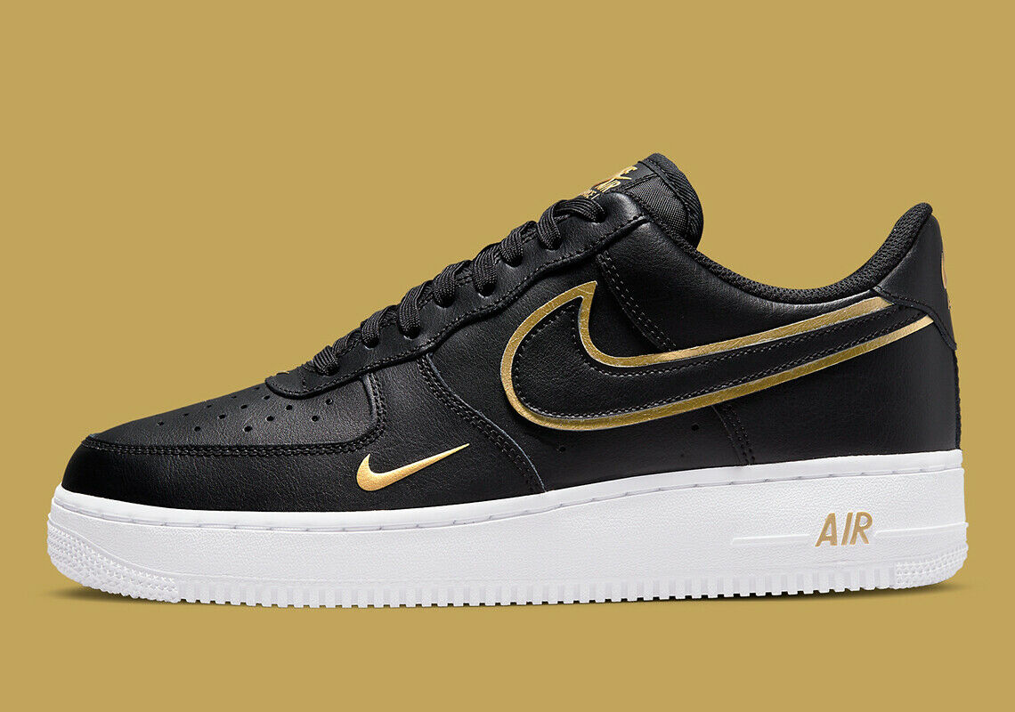 Image 1 - Nike Air Force 1 '07 LV8 Shoes Black Gold White DA8481-001 Men's Multi Size NEW