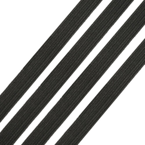 200yds//Roll 6mm Black Flat Elastic Cords Braided Sewing Band Ropes Crafting 1//4/""