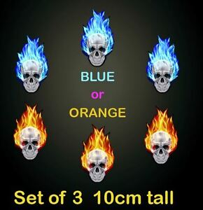 Set-of-3-Blue-or-Red-Burning-Skull-Stickers-10cm-Car-Window-Fire-Flames-Skulls