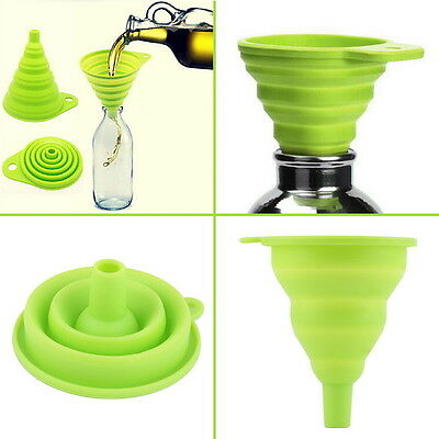 Foldable Practical Collapsible Silicone Funnel Hopper Kitchen Tool Gadget @KK