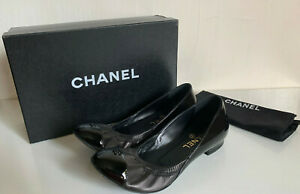 NEW-CHANEL-BLACK-PATENT-CAP-TOE-BALLERINA-STRETCH-FLATS-FLAT-SANDALS-SHOES-7-37