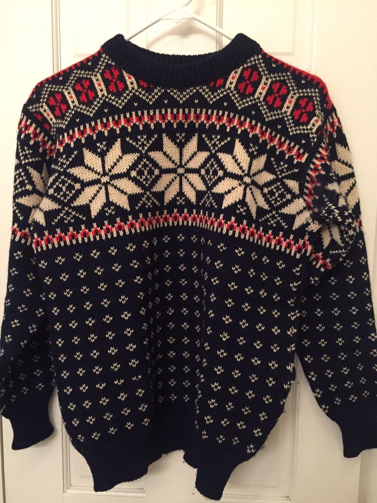 True Vtg LL Bean Christmas Hygge Fair Isle Wool Winter Snowflakes Sweater S-M 38
