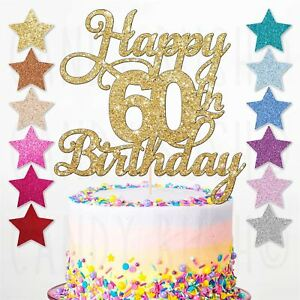 Image Is Loading Happy 60th Birthday Cake Topper Sixty Daughter Son
