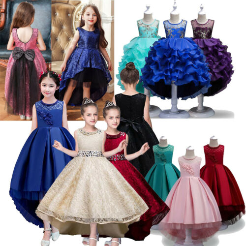 Girls Party Dresses Wedding Bridesmaid Pageant Toddler Prom Flowers Hi-Low Ball