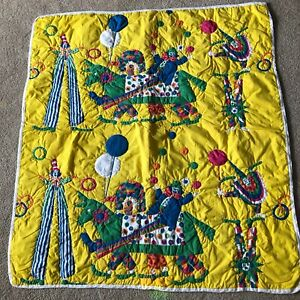 """Vintage Clown Baby Blanket 34"""" x 37"""" Circus Animal Quilt Style Printed"""