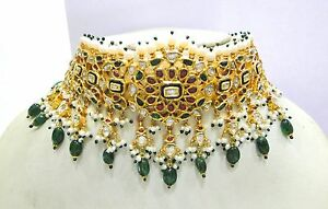 Vintage antique solid 20k Gold jewelry Diamond Ruby Emerald Choker