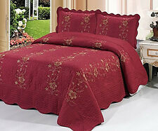 Homemartgoods 3 Piece Quilted Bedspread Red Burgundy Quilt Shams ... : red quilted bedspreads - Adamdwight.com
